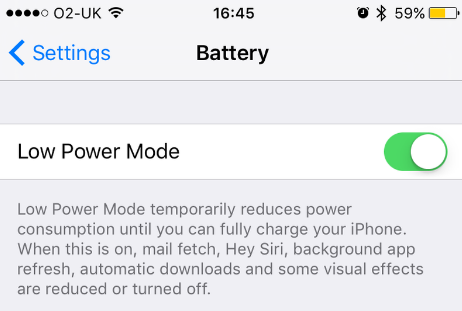 Lower power mode
