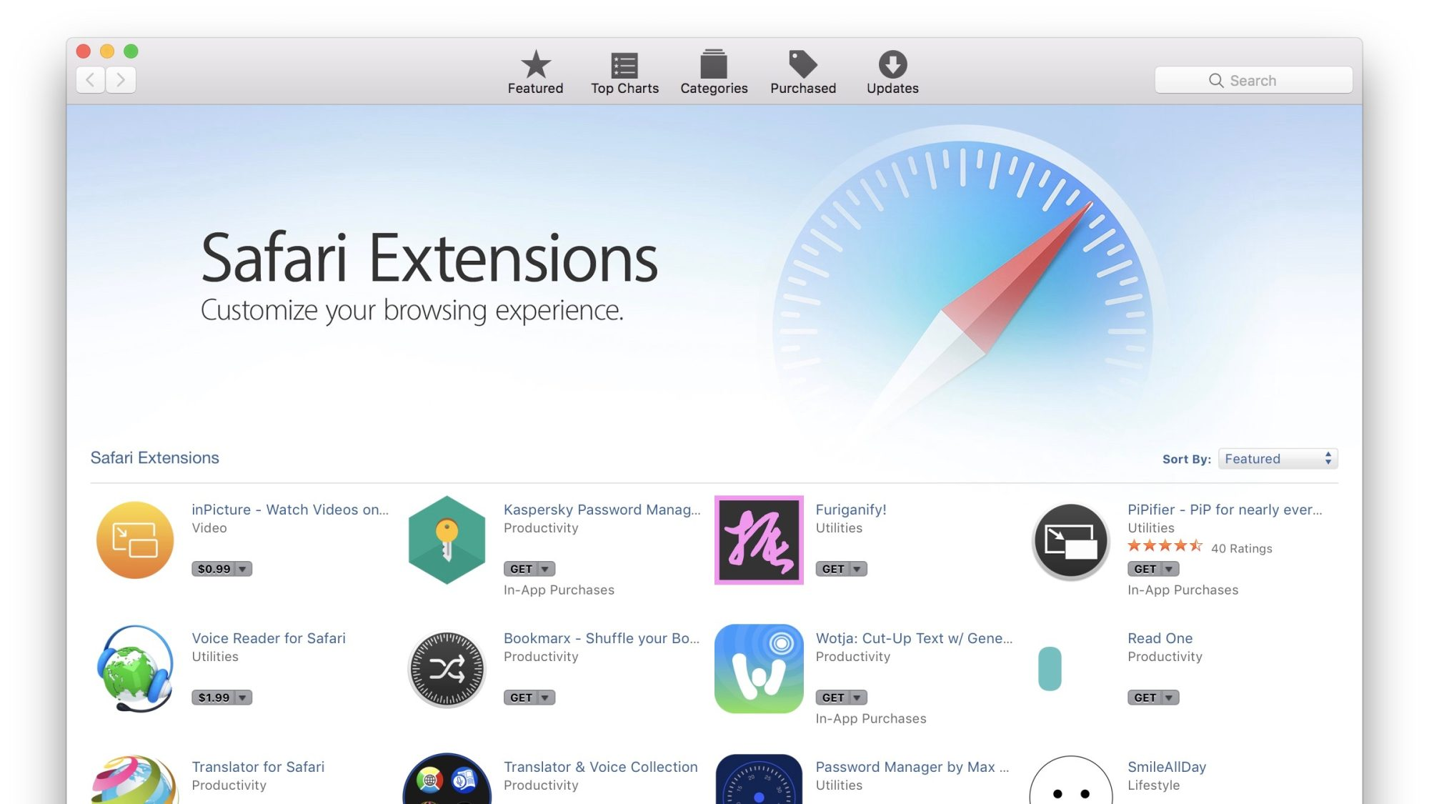 Safari Extensions Webpage